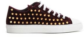 Gienchi Women's Burgundy Velvet Sneakers.