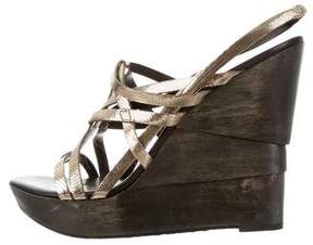 Diane von Furstenberg Metallic Wedge Sandals