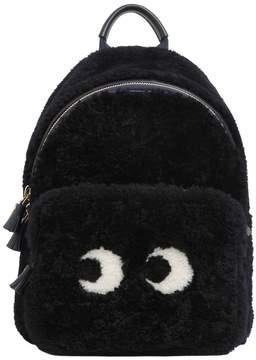 Anya Hindmarch Mini Eyes Shearling Backpack