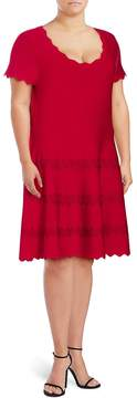 Alexia Admor Women's Scalloped Knit Dress - Red, Size 2x (18-20)