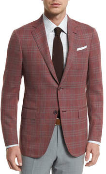 Ermenegildo Zegna Plaid Two-Button Jacket, Red/Gray