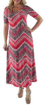 24/7 Comfort Apparel Women's Red Grey Zig Zag Maxi Dress