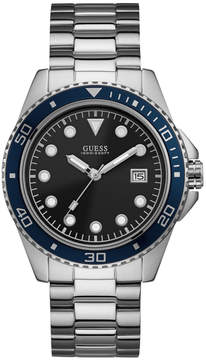 GUESS Silver-Tone and Blue Sport Watch