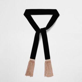River Island Womens Black velvet tassel chain scarf