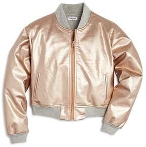 Splendid Girls' Rose-Gold Faux-Leather Bomber Jacket - Big Kid