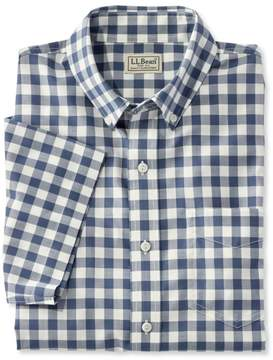 L.L. Bean L.L.Bean Easy-Care Chambray Shirt, Traditional Fit Short-Sleeve Plaid