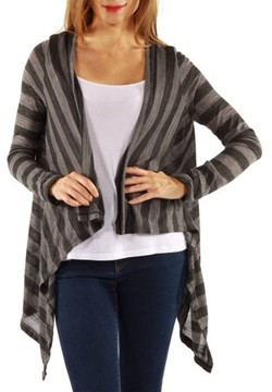 24/7 Comfort Apparel Women's Casual Charcoal Printed Shrug