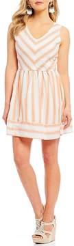 Copper Key V-Neck Stripe Dress