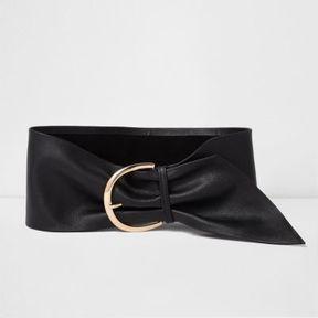 River Island Womens Black wide leather waist buckle belt
