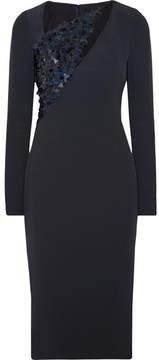 Cushnie et Ochs Larissa Embellished Tulle-paneled Cady Midi Dress - Midnight blue