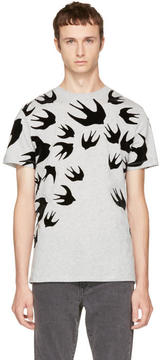 McQ Grey and Black Swallows T-Shirt