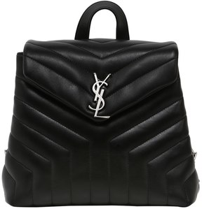 Saint Laurent Small Loulou Monogram Leather Backpack - BLACK - STYLE