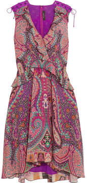 Etro Ruffled Floral-print Silk Dress - Pink