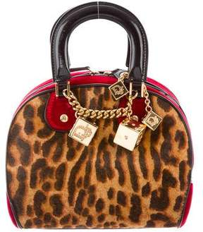Christian Dior Leopard Gambler Dice Bowler Bag