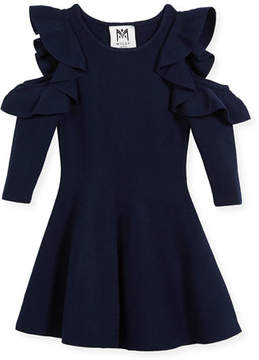 Milly Minis Knit Cold-Shoulder Ruffle Dress, Size 4-7