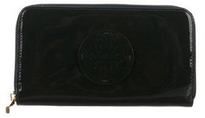 Tory Burch Patent Leather Logo Wallet - GREEN - STYLE