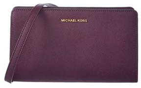 MICHAEL Michael Kors Large Leather Crossbody Clutch. - WINE - STYLE