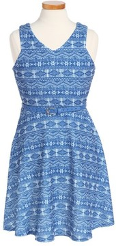 Blush by Us Angels Girl's Geo Print Fit & Flare Dress