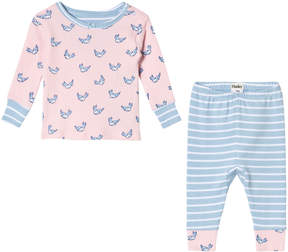 Hatley Pink And Blue Fluttering Birds Long Sleeve Mini Pyjama Set