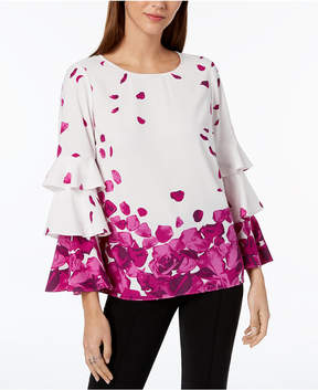 Alfani Ruffle-Sleeve Printed Top, Created for Macy's
