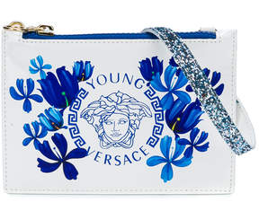 Versace logo and floral print purse