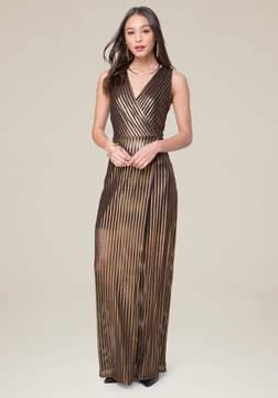 Bebe Gold Stripe Maxi Dress