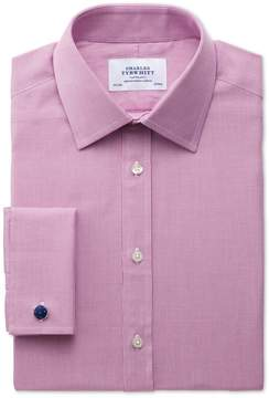 Charles Tyrwhitt Slim Fit Oxford Magenta Cotton Dress Shirt French Cuff Size 14.5/32