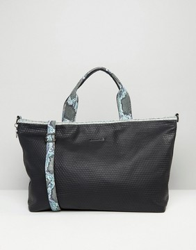 Silvian Heach Textured Weekender Travel Bag With Faux Snakeskin Trim