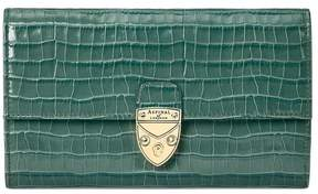 Aspinal of London Mayfair Purse In Deep Shine Sage Small Croc