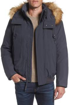 Andrew Marc Men's Insulated Bomber Jacket With Faux Fur Trim