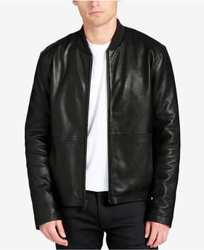 DKNY Men's Leather Bomber Jacket