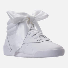 Reebok Girls' Preschool Freestyle Hi Satin Bow Casual Shoes