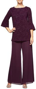 Alex Evenings Bell-Sleeve Tunic 2-Piece Pant Set