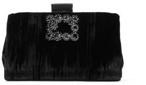 Roger Vivier Crystal-embellished Crushed-velvet Clutch - Black