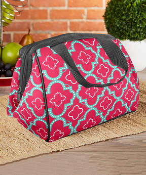 Fit & Fresh Pink Aqua Dot Tile Charlotte Insulated Lunch Bag & Ice Pack