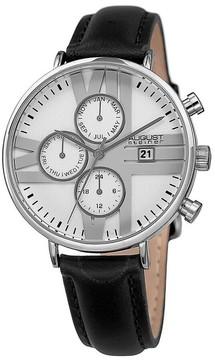 August Steiner Silver Dial Ladies Leather Watch