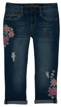 Vigoss Girl's Floral Vines Capri Jeans