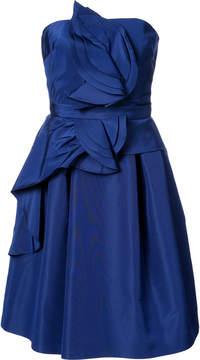 Carolina Herrera sleeveless flared dress with ruffle details on bodice and skirt