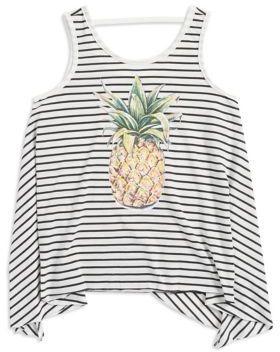 Jessica Simpson Girl's Striped Pineapple Tank