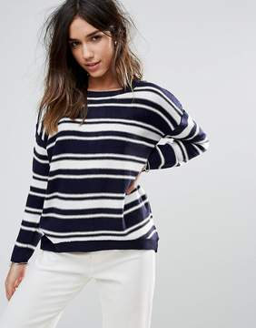 Brave Soul Stripe Sweater With Zip Back