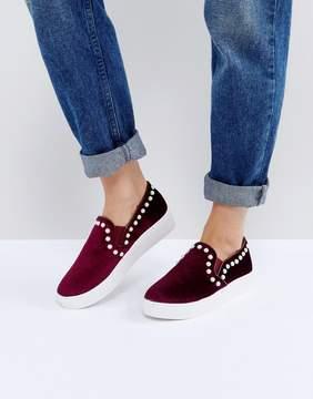Glamorous Burgundy Velvet Pearl Slip On Sneaker
