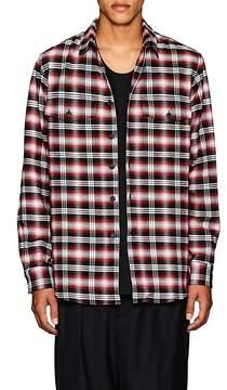 Marcelo Burlon County of Milan Men's Pit-Bull-Graphic Plaid Cotton Oversized Shirt
