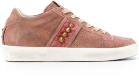 Leather Crown studded sneakers