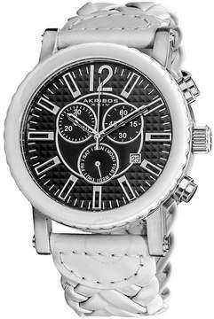 Akribos XXIV Akribos Chronograph White Ceramic White Leather Men's Watch