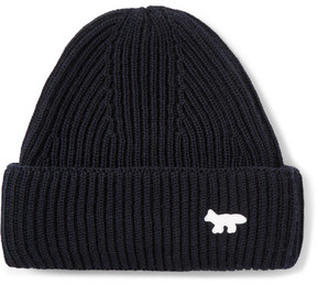 MAISON KITSUNÉ Ribbed-Knit Wool Beanie Hat