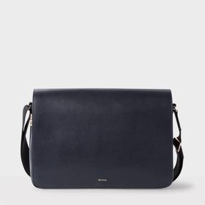 Paul Smith Men's Navy Leather 'New City' Messenger Bag