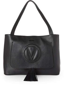 Mario Valentino Valentino By Black Ollie Tassel Leather Tote
