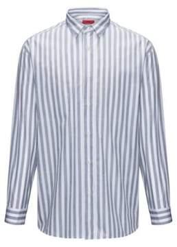 HUGO Boss Striped Cotton Sport Shirt, Relaxed Fit Emilton L Open White