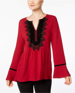 August Silk Velvet-Applique Top
