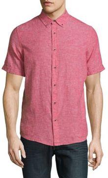 Report Collection Textured Linen-Cotton Shirt